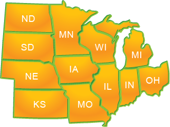 Central region states map